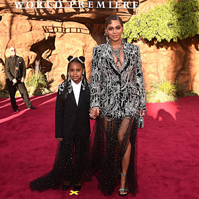 """Blue Ivy Carter (L) and Beyonce Knowles-Carter attend the World Premiere of Disney's """"The Lion King"""" at the Dolby Theatre on July 09, 2019 in Hollywood, California. (Photo by Alberto E. Rodriguez/Getty Images for Disney)"""
