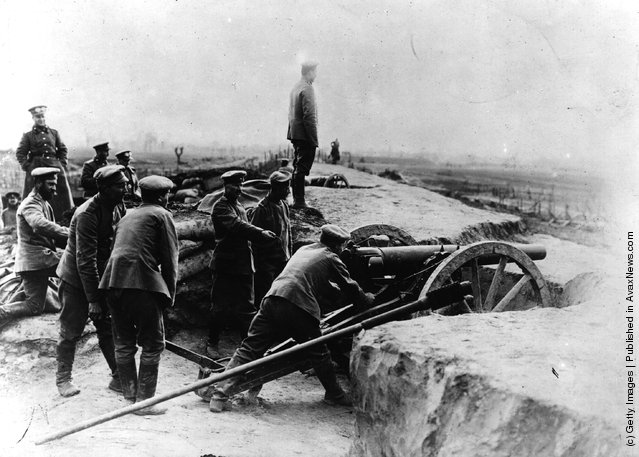 1914: A Russian battery at the siege of the Polish border town of Przemysl and Austrian-Hungarian fortress