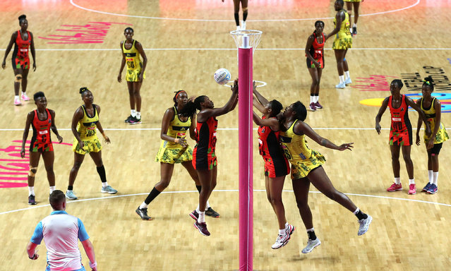 A general view of action between Jamaica and Malawi during the Netball World Cup match at the M&S Bank Arena, Liverpool on July 21, 2019. (Photo by Nigel French/PA Images via Getty Images)