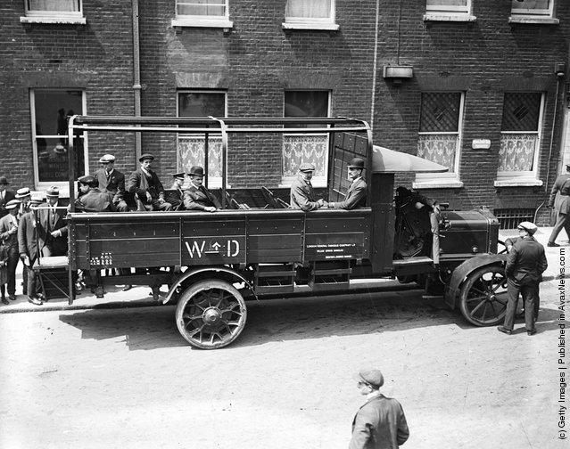 1919: Passengers aboard the new London lorry bus