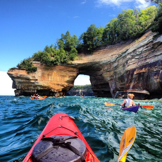 Winner of the National Park Foundation's photo contest; Grand prize winner. Pictured Rocks National Lakeshore, Michigan. Share the Experience Contest Winner, Courtney Kotewa, snapped this image at Pictured Rocks National Lakeshore with her smart phone. It will be featured in the 2015 National Parks and Federal Recreational Pass. According to Kotewa, the shot almost didn't happen, as she wasn't sure if she would take her phone out with her on the choppy lake. Although she grew up in Michigan, this was Kotewa's first trip to Pictured Rocks. (Photo by Courtney Kotewa)