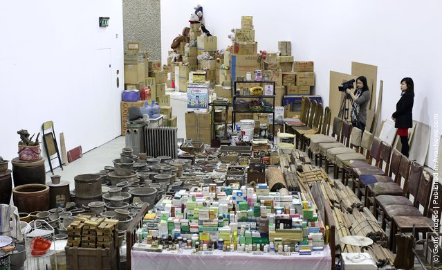 Chinese artist Song Dong' installation entitled 'Waste Not' in The Curve at the Barbican Art Gallery