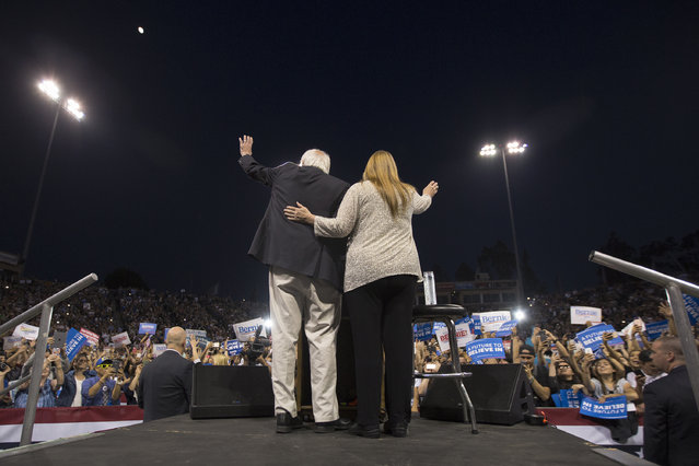 Democratic presidential candidate Sen. Bernie Sanders and wife Jane O'Meara Sanders arrive to a campaign rally at California State University, Dominguez Hills on May 17, 2016 in Carson, California. Candidates are campaigning for the June 7 California presidential primary election.  (Photo by David McNew/Getty Images)