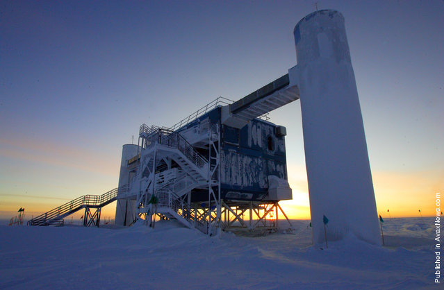 The Ice Cube Laboratory at Amundsen-Scott South Pole station on September 20, 2010, as dawn was breaking after six months of darkness. Ice Cube is the world's largest neutrino detector