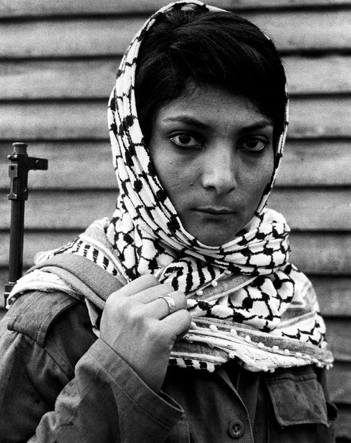 Leila Khaled, who hijacked a TWA airliner to Damascus in 1969, at a Palestinian refugee camp in Lebanon. 1970. (Photo by Eddie Adams/The Guardian)
