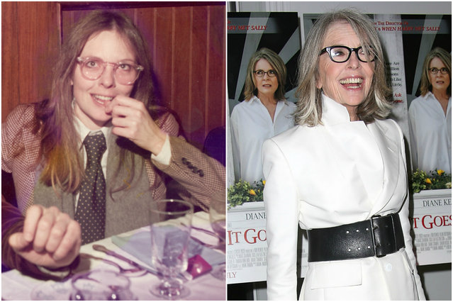 Diane Keaton in 1975 and today. (Photo by Getty Images)