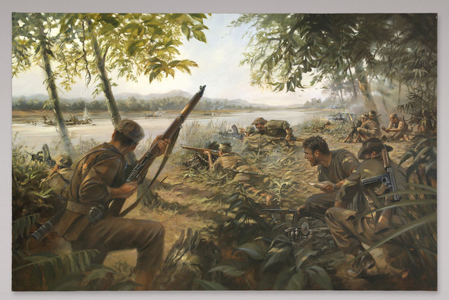 Stuart Brown, 2010, Oil on Canvas, Donated Courtesy of Michael DeSombre. The painting depicts one of OSS Detachment 101's many guerrilla operations staged to disrupt Japanese supply and reinforcement routes in Burma. (Photo by  Central Intelligence Agency)