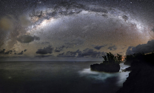 Milky Way is seen from east coast Réunion Island on  May 2013. (Photo by Luc Perrot/Novapix/Leemage)