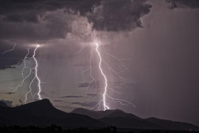 Lightning striking the Whetstone Mountians, 2011