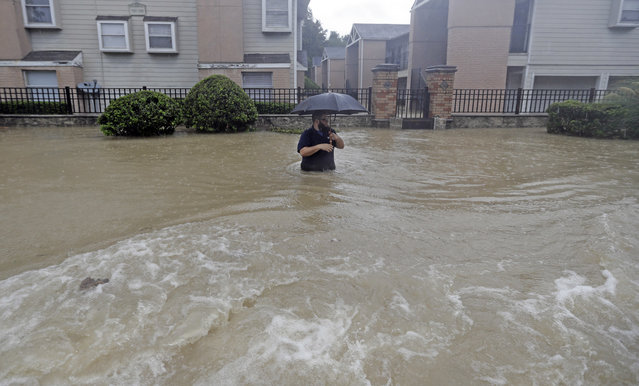 A man wades through floodwaters from Tropical Storm Harvey on Sunday, August 27, 2017, in Houston, Texas. (Photo by David J. Phillip/AP Photo)