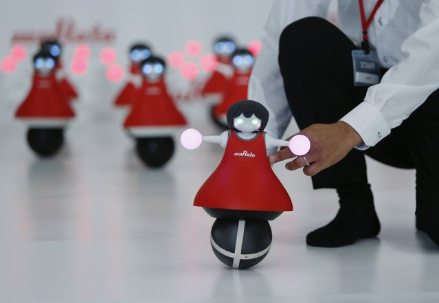 "A staff of Japan's Murata Manufacturing Co. Ltd's pushes their latest concept robot, ""The Murata Cheerleaders"", to demonstrate their balancing skills during an unveiling event in Tokyo September 25, 2014. ""The Murata Cheerleaders"", balance on balls and synchronize as a team by utilizing Murata's latest sensing and communication technology. (Photo by Yuya Shino/Reuters)"