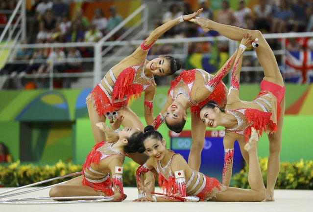 2016 Rio Olympics, Rhythmic Gymnastics, Preliminary, Group All-Around Qualification, Rotation 2, Rio Olympic Arena, Rio de Janeiro, Brazil on August 20, 2016. Team Japan (JPN) compete using clubs and hoops. (Photo by Mike Blake/Reuters)