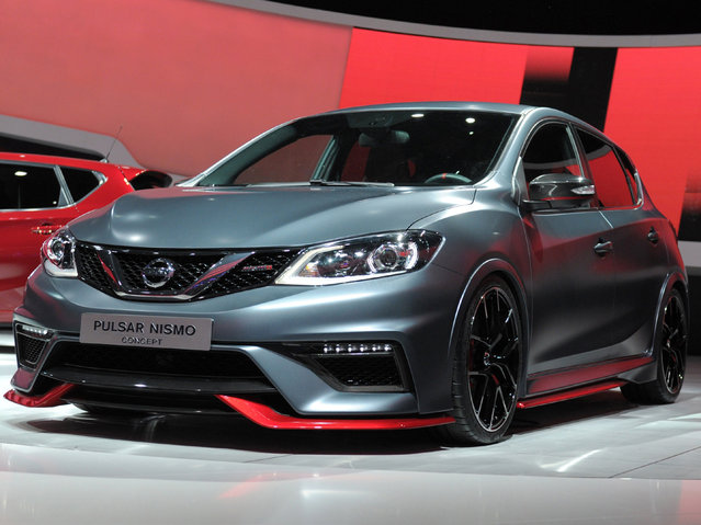 A Nissan Pulsar Nismo Concept car is presented at the 2014 Paris Auto Show on October 2, 2014 in Paris on the first of the two press days. (Photo by Eric Piermont/AFP Photo)
