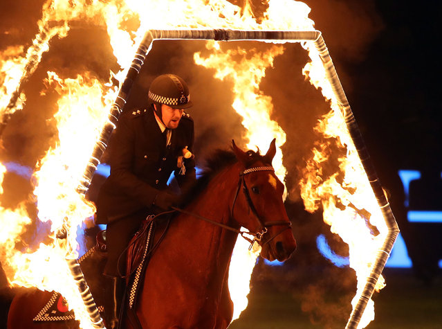 The Metropolitan Police Activity Ride perform during day six of the London International Horse Show at the Olympia exhibition center in London, England on December 17, 2017. (Photo by Steve Parsons/PA Images via Getty Images)