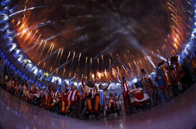 2016 Rio Paralympics, Opening ceremony, Maracana, Rio de Janeiro, Brazil on September 7, 2016. Fireworks erupt during the opening ceremony. (Photo by Ricardo Moraes/Reuters)