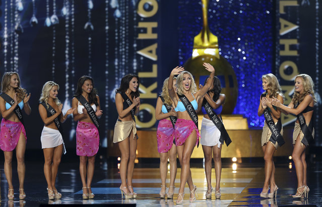 Miss Oklahoma Sarah Klein, waves as she is selected to move on in the competition during the Miss America 2017 pageant, Sunday, September 11, 2016, in Atlantic City, N.J. (Photo by Mel Evans/AP Photo)