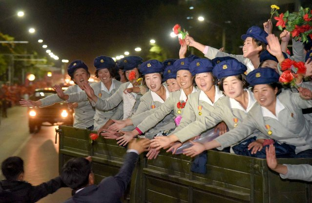 North Korean military participate in the celebration of the 70th anniversary of the founding of the ruling Workers' Party of Korea, in this undated photo released by North Korea's Korean Central News Agency (KCNA) in Pyongyang on early October 11, 2015. (Photo by Reuters/KCNA)
