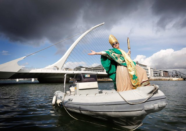 St. Patrick Makes A Splash For The 2013 Festival. Navigating a course this morning up Dublin's River Liffey, St. Patrick himself has arrived safely in Dublin City Centre, in time for this year's fun filled, five day St. Patrick Festival. (Photo by Robbie Reynolds)