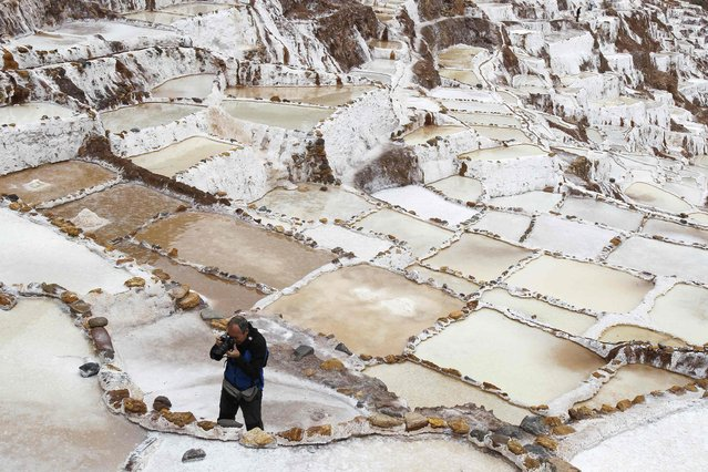 A tourist takes pictures of a salt pond at the Maras mines in Cuzco December 3, 2014. (Photo by Enrique Castro-Mendivil/Reuters)