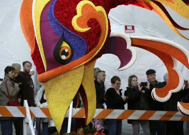 People view Singpoli Group's inaugural Rose Parade float as it undergoes its finishing touches in Pasadena, California December 30, 2014. (Photo by Jonathan Alcorn/Reuters)