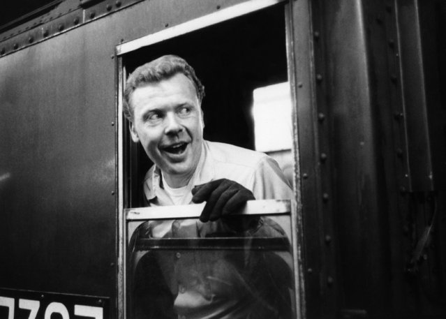 An unidentified conductor for an IRT subway train is shown on the job in New York, July 10, 1970. (Photo by AP Photo)