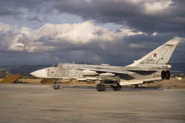 A Russian bomber taxies at Hemeimeem air base in Syria on Wednesday, January 20, 2016. (Photo by Vladimir Isachenkov/AP Photo)