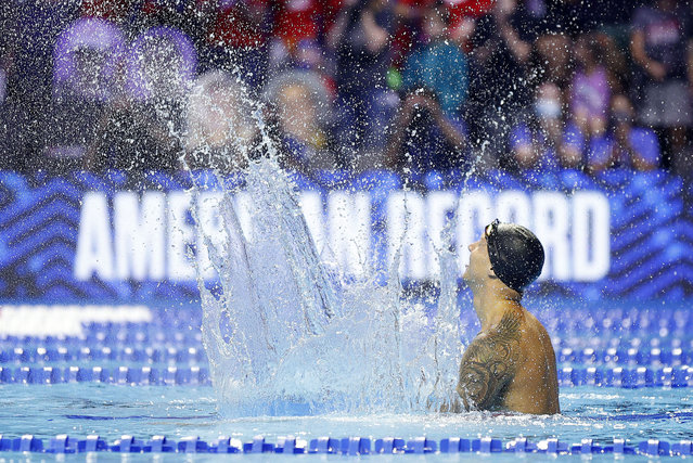 Caeleb Dressel of the United States reacts after setting an American Record in the Men's 50m freestyle final during Day Eight of the 2021 U.S. Olympic Team Swimming Trials at CHI Health Center on June 20, 2021 in Omaha, Nebraska. (Photo by Maddie Meyer/Getty Images)