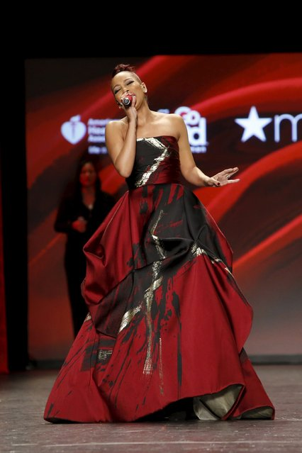 Monica presents a creation during the American Heart Association's (AHA) Go Red For Women Red Dress Collection, presented by Macy's at New York Fashion Week February 11, 2016. (Photo by Andrew Kelly/Reuters)