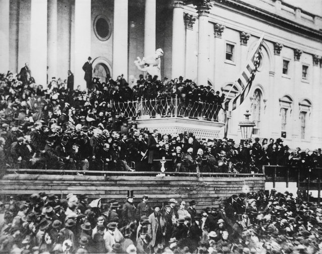 Abraham Lincoln delivers his second inaugural address on the east portico of the Capitol in Washington, D.C., U.S. March 1865. (Photo by Reuters/Library of Congress)