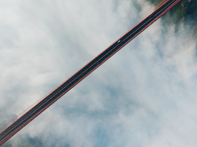 Dead straight. This image of a road bridge in the US won first prize in the Amateur Beauty category. (Photo by SkyPixel)