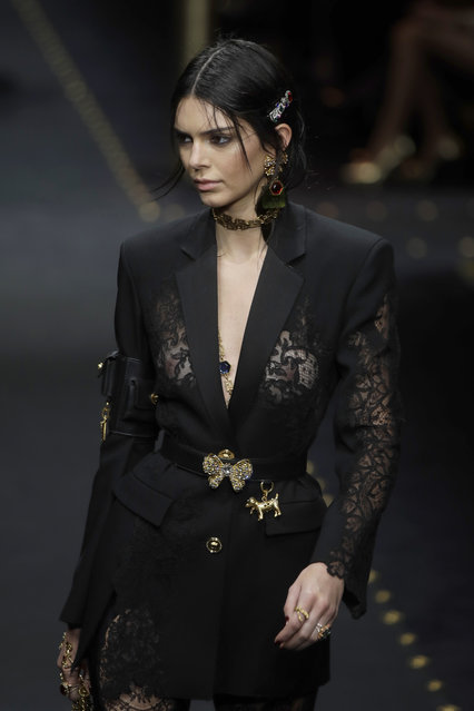 Model Kendall Jenner wears a creation as part of the Versace women's Fall-Winter 2019-2020 collection, that was presented in Milan, Italy, Thursday, Friday, February 22, 2019. (Photo by Luca Bruno/AP Photo)