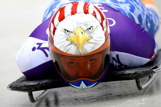 Katie Uhlaender of USA prepares in action during a Women's Skeleton training session on Day 3 of the Sochi 2014 Winter Olympics at the Sanki Sliding Center on February 10, 2014 in Sochi, Russia. (Photo by Lionel Bonaventure/AFP Photo)