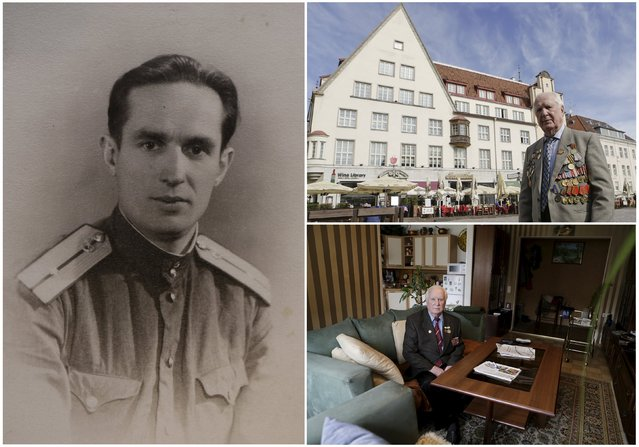 World War Two veteran Karl Rammus, 92, is seen in an undated handout photo (L), posing for a picture in Tallinn (Top R) and at home in Estonia in 2015. Rammus served in an infantry reconnaissance company of the Soviet Union army from August 1942 until May 1945. Originally from Estonia, the end of World War Two found him in Latvia. (Photo by Ints Kalnins/Reuters/Family handout (L))