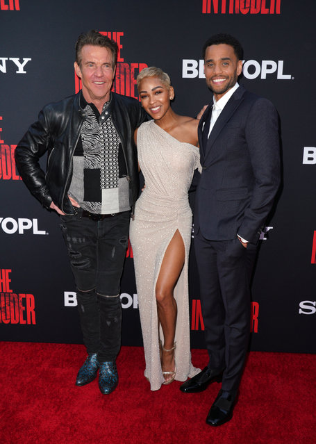 "(L-R) Actors Dennis Quaid, Meagan Good and Michael Ealy attend the Screen Gems premiere of ""The Intruder"" at ArcLight Hollywood on May 01, 2019 in Hollywood, California. (Photo by JC Olivera/WireImage)"