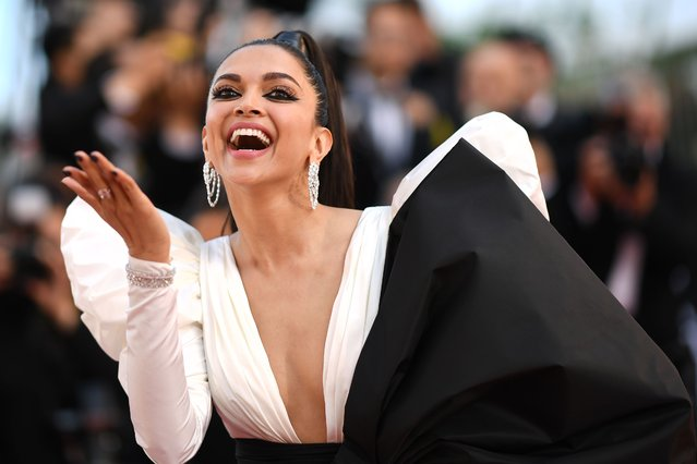 "Danish-born Indian model Deepika Padukone poses as she arrives for the screening of the film ""Rocketman"" at the 72nd edition of the Cannes Film Festival in Cannes, southern France, on May 16, 2019. (Photo by Loic Venance/AFP Photo)"