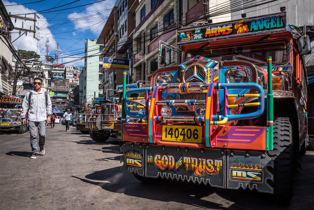 A jeepney waits for departure at Baguio (North Luzon). (Photo by Claudio Sieber/Barcroft Media)