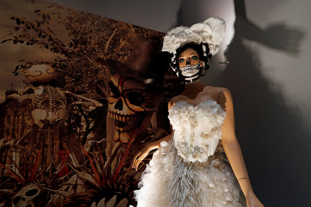 """A costume used during the shooting of the movie """"Spectre"""" is displayed at the exhibition """"The Designing 007: Fifty Years of Bond Style"""" during a press presentation at the Grande Halle de la Villette in Paris, France, April 13, 2016. (Photo by Benoit Tessier/Reuters)"""