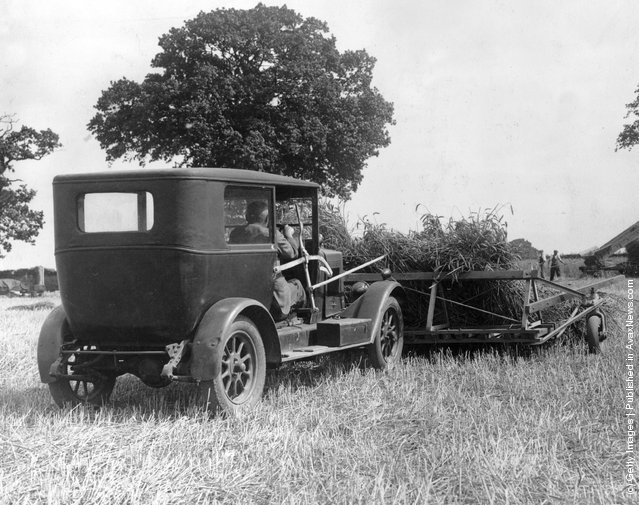 1937: An old car is used to harvest a field at Sprowston, Norfolk