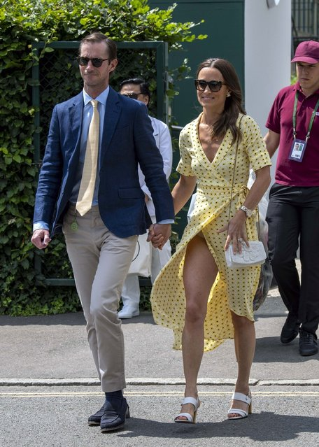 Pippa Matthews (Middleton) and James Matthews arrive at the 2019 Wimbledon Lawn Tennis Championships in London, United Kingdom on July 12, 2019. (Photo by Backgrid USA)