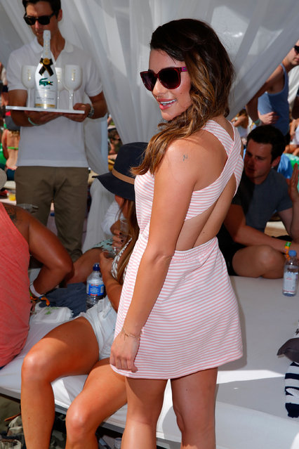 Actress Lea Michele attends Day 1 of the LACOSTE Beautiful Desert Pool Party on April 12, 2014 in Thermal, California. (Photo by Joe Scarnici/Getty Images for LACOSTE)