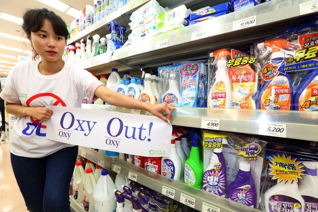 A member of the Korean Federation for Environmental Movement (KFEM) protests for a boycott of products made by Oxy Reckitt Benckiser Korea at a supermarket in Seoul, South Korea, 13 May 2016. Reckitt Benckiser's humidifier sterilizers Oxy are blamed for the deaths of more than 100 people from their toxic chemicals. The company has apologized and promised compensation for the victims of the toxic humidifier sterilizer. (Photo by Kim Chul-Soo/EPA)