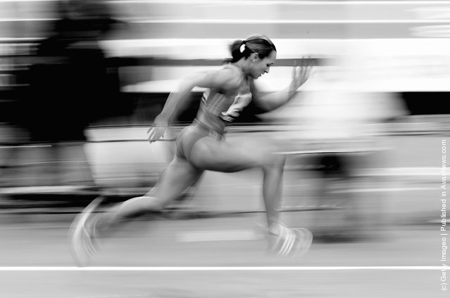 Jessica Ennis of Great Britain in action during the Aviva Grand Prix at the NIA Arena