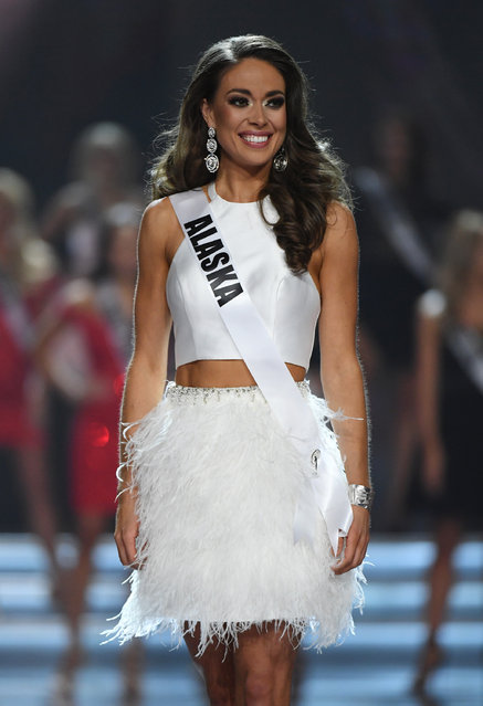 Miss Alaska USA 2017 Alyssa London reacts after being named a top 10 finalist during the 2017 Miss USA pageant at the Mandalay Bay Events Center on May 14, 2017 in Las Vegas, Nevada. (Photo by Ethan Miller/Getty Images)