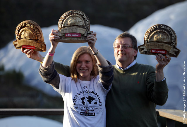 Winners of the World Cornish Pasty Championships, Suzanne Manson, who won the amateur category and Graham Cornish, from Ginsters who won the professional category, pose for a photograph at The Eden Project