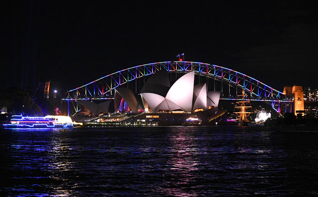 The Sydney Harbour Bridge is lit in rainbow colors in Sydney, Australia, June 13, 2016. (Photo by Sam Mooy/Reuters/AAP)