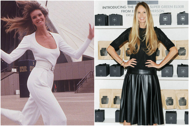 Elle Macpherson in 1985 and today. (Photo by Getty Images)