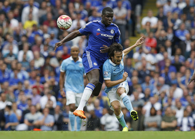 Football, Manchester City vs Chelsea, Barclays Premier League, Etihad Stadium on August 16, 2015: Chelsea's Kurt Zouma in action with Manchester City's David Silva. (Photo by Andrew Yates/Reuters/Livepic)