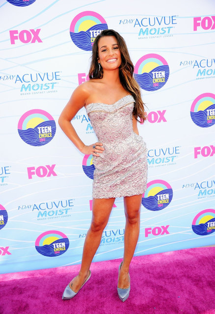 Actress Lea Michele arrives at the 2012 Teen Choice Awards at Gibson Amphitheatre on July 22, 2012 in Universal City, California. (Photo by Jason Merritt)