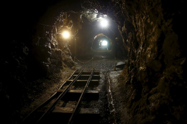 """A tunnel with tracks for mining cars, part of the Nazi Germany """"Riese"""" construction project, pictured near an area where a Nazi train is believed to be at, in Walim near Walbrzych southwestern Poland, August 31, 2015. Poland said on Friday it was almost certain it had located the Nazi train rumored to have gone missing near the close of World War Two loaded with guns and jewels. (Photo by Kacper Pempel/Reuters)"""