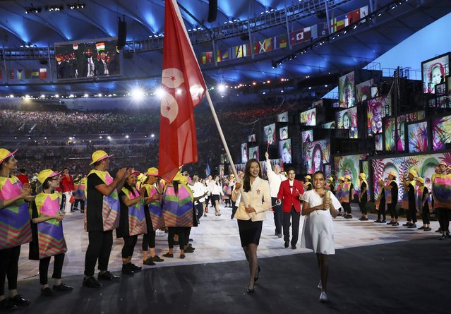 2016 Rio Olympics, Opening ceremony, Maracana, Rio de Janeiro, Brazil on August 5, 2016. Stephanie Au (HKG) of Hong Kong carries their flag in the opening ceremony. (Photo by Stefan Wermuth/Reuters)